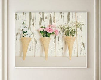 Romantic Still Life flower Photograph, Vintage Flowers in Cones, Fine art photograph, Shabby Chic Decor, Vintage Flowers, Large Wall Art