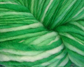 Handspun and hand-dyed yarn, pure Australian Fine Merino wool. Shades of green. 140 grams approx. 10-12 ply. Made by Soft Senses Yarn
