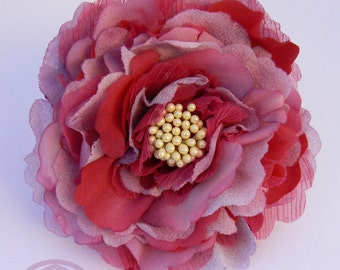 """Silk Peony brooch, """"somebana"""": 3 different silks dyed, cut and modeled handmade, millinery work, perfect and smart present."""