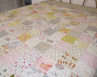 Twin quilt - queen quilt - king quilt - custom quilt - low volume quilt - patchwork quilt - handmade quilt - cottage chic quilt