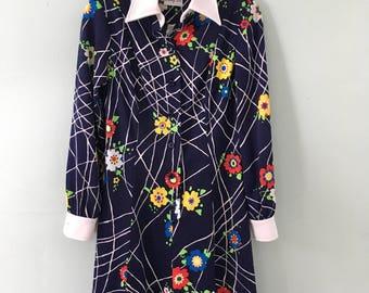 1970s Henry Lee Dress/Flower Power Dress/Bohemian/Mod/Retro