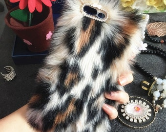 Bling Synthetic Faux Cheetah Print Cute Fur Furry Lovely Fashion Sparkles Crystals Rhinestones Diamonds Gem Hard Cover Case for Mobile Phone