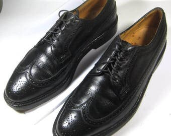 FLORSHEIM Royal IMPERIAL 10D Rich Black Longwing Oxfords Wingtip Shoes