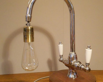 Tap Light - This is a uniquely re-cycled twin tap set converted into a conversation stopping table lamp