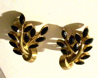 Designer Signed Carolee Black Rhinestone Clip On Earrings Vintage Clip Back Collectible Costume Jewelry
