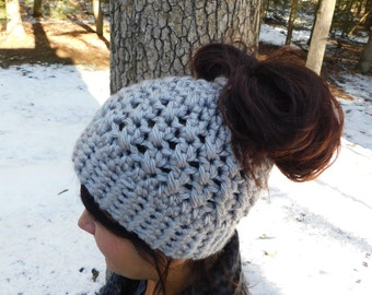 Ponytail Hat - Bun Hat - Messy Bun Beanie - Pony Tail Hat - Crochet Hat - Ponytail Beanie - Gift for Runner - Pony tail Beanie - Winter Hat