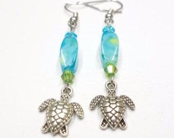 Baby Turtle Earrings With Glass Beads