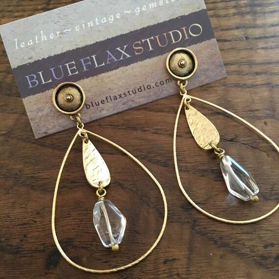 Hoop & Rock Crystal Earrings