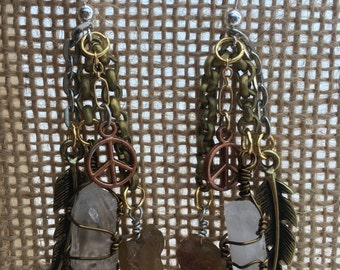 wire wrapped mixed metal quartz and garnet dangle earnings