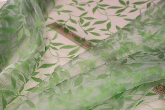 Sheer Green Leaf Fabric By The Yard Sheer Burnout Organza Drapery Fabric For Drapery Dress
