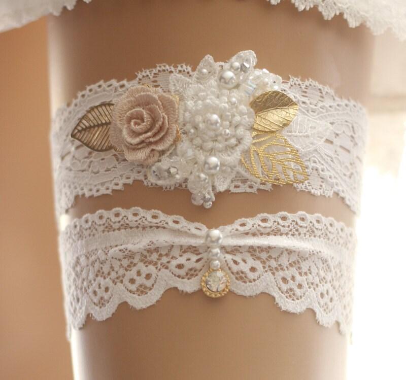 Wedding Garter Set Bridal Garter Set Lace Garter Set White