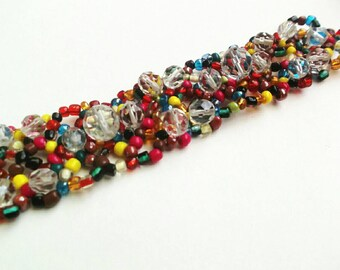Beaded bracelet colorful beadwork red blue green transparent yellow beads unique bracelet gift for Mom for her seed beads jewelry bracelet