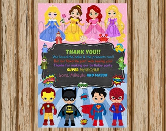 """PERSONALIZED- Superhero and Princess Thank You Card- Superhero Thank You Card- Princess Birthday Thank You Card- 5"""" x 7"""" size- Digital Item"""