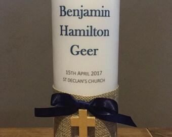 SALE Personalised Baptism candle, Personalised Christening candle, personalised candles, blue baptism, boy baptism candle