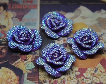 4 pcs Purple Rhinestone Resin Rose Flower Cabochon 32mm for all your DIY needs. K-05