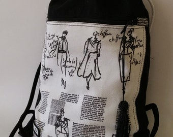 Backpack Sketches/Tribute to Chanel/Rucksack with print/ Laptop backpack/Travel pack/Drawstring sack-Bag with rope straps/Printed backpack