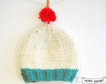 Bonnet bi - colored wool