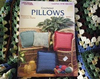 Crochet Pillows Patterns Leaflet By Leisure Arts 518 - 9 Pillow Designs
