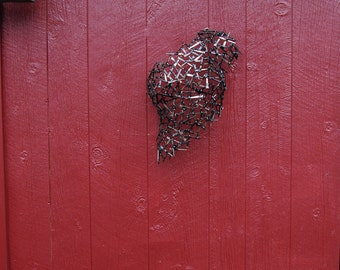 Female Torso Wall Sculpture Welded  Nails