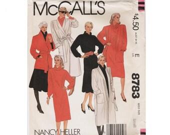 Wrap Coat Pattern 80s Coat 1980s Dress Pattern McCALLS 8783 SMALL UnCUT Tunic and Skirt Shoulder Pad Coat Wrap Jacket Roll Collar Dress