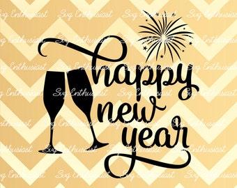 Happy New Year SVG, Happy Holidays Svg, Christmas Svg, Holidays Svg, Champagne glass SVG, Fireworks Svg, Eps, Cut Files, Clip Art,