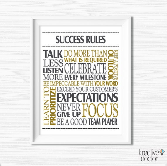 Success quotes office wall art printable office teamwork for Motivational quotes for office cubicle