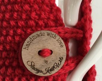 Handmade red cup cozy or mug, tea cosy, coffee cozy, red mug cozy, red tea cozy, red cosy, red coffee cosy, red cup cozy