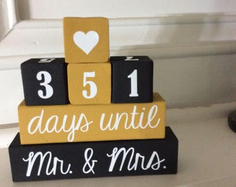 Wedding countdown blocks, engagement gift, Mr. and Mrs., bride's gift, countdown days until Mr. Mrs.  custom countdown