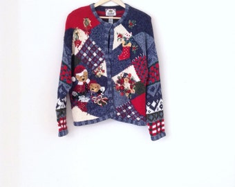 The ugliest christmas sweater. 90's ugliest cotton christmas sweater. Size XL