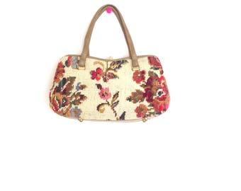 Vintage 1960's Cara handbag. Vintage floral print, needle point handbag. Vintage needle point snap clasp bag. Made in USA