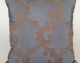 Tan and Grayish Blue Pillow, Patterned Pillow, Throw Pillow Cover, Decorative Pillow Cover, Cushion Cover, Accent Pillow, Silk Blend Pillow.