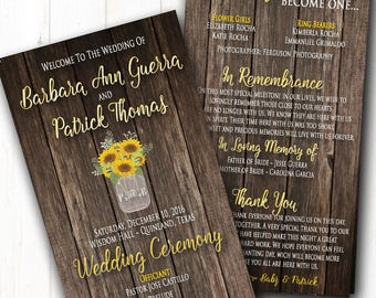 Rustic Wedding Program - Sunflowers Summer Wedding Programs - Barn Ceremony - String Lights & Wood - Country Wedding