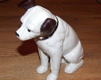 "Superb Hand painted Cast Iron "" HMV His Masters Voice Dog Money Box 6"" Tall"