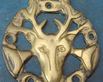 Rare vintage HORSE BRASS Stags Head Style Design Made in England