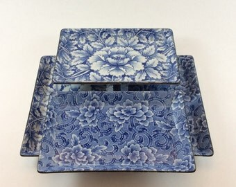 Japanese Blue and White Floral Porcelain Sushi Trays Set of Four