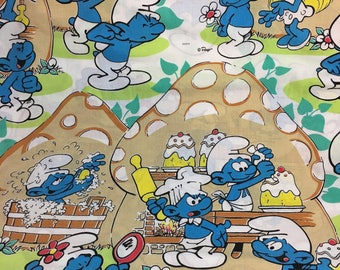 Vintage Smurf Bakery Multi Color Twin Flat Sheet