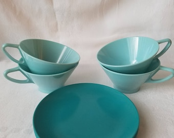 Vintage Turquoise Cups and Plates