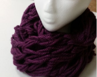 Arm Knitted Purple infinity scarf