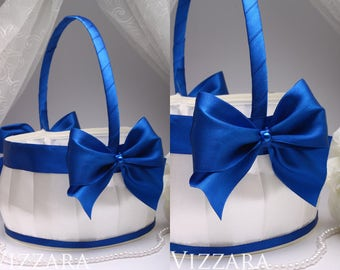 navy flower girl baskets Wedding blue flower basket Wedding Baskets Outdoor Wedding Vintage Wedding Lace blue Wedding basket blue set