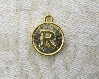 "Gold Medallion Letter ""R"" Charm 1 or 5 letters per package ALF012r-GL"