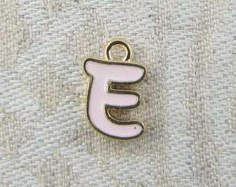 """Pink and Gold Enamel Letter """"E"""" Charm, 1 or 5 letters per package  ALF026e-P"""