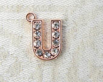 1 or 5, Initial Charm, Charm Bracelet, Rhinestone Letter, Rose Gold Letter, Initial Pendant, Alphabet Charm, Rose Gold Charm, ALF022u-RG