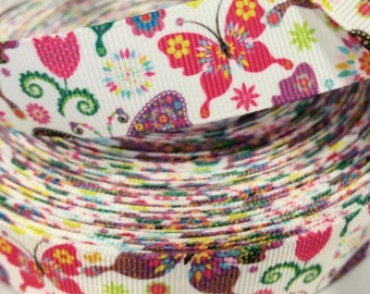 7/8 inch - Butterflies and Flowers Colorful Butterfly - Printed Grosgrain Ribbon for Hair Bow
