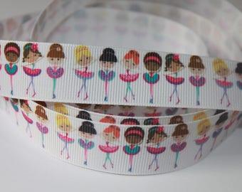 """7/8"""" inch BALLET Ballerina Girls on White - Dance - Printed Grosgrain Ribbon for Hair Bow TheFabFind"""