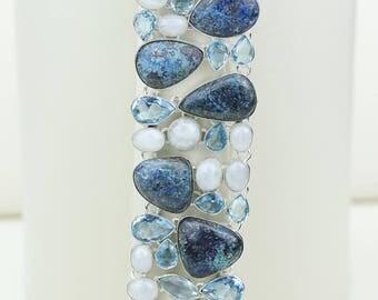 CHRYSOCOLLA AZURITE MALACHITE Moonstone Irradiated Aquamarine 925 S0LID Sterling Silver Bracelet B2647