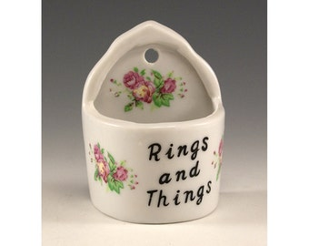 Vintage Ceramic Wall Hanging Rings and Things Container