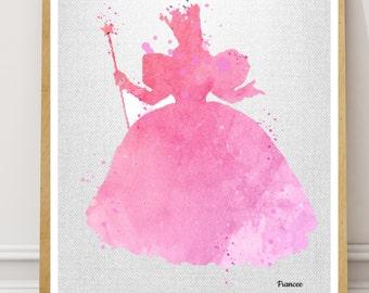 Glinda the Good Witch Print Wizard of Oz Watercolor print Nursery Art, Wizard of Oz Glinda Pink Print, Glinda Good Witch Poster Pink Glinda
