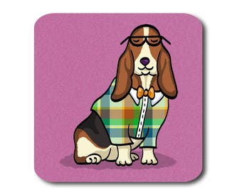 Basset Hound Coasters - Fun Basset Hound Coasters - Set of 4 - Basset Hound Gift - Choose Color