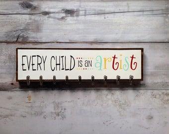 Kids Art Board, Every Child Is An Artist, Art Work Holder, Kids Art Hook, Childs Art Display, Art Display, Art Hooks, Art Work Gallery
