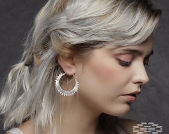 Silver tone hoops earrings, tribal earrings, boho hoops,ethnic earrings
